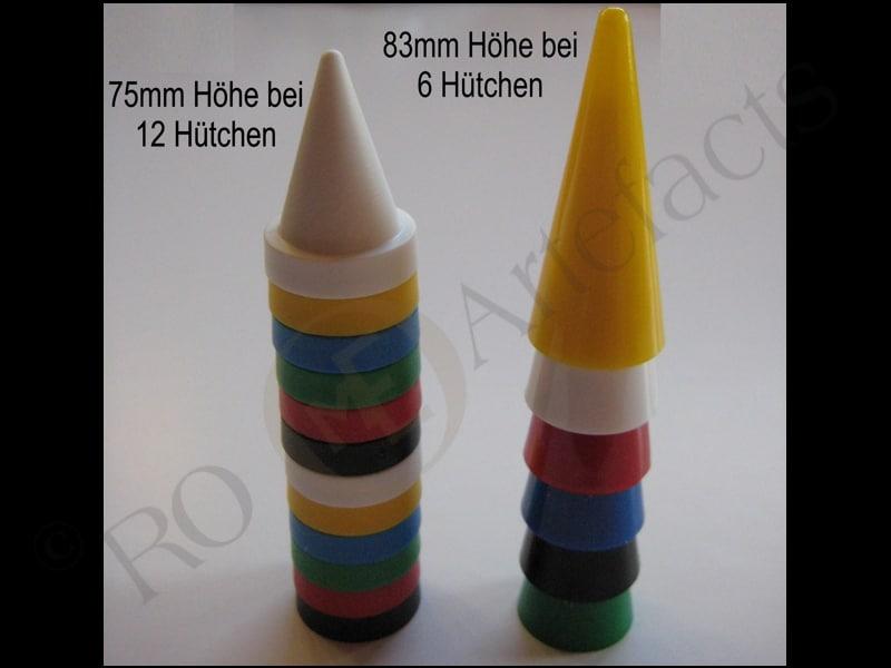 Satz Hütchen - Stapelbare Spielfiguren (SPIKA DDR)